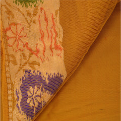 Antique Vintage Indian Saree 100% Pure Silk Green Woven Fabric Sari - StompMarket