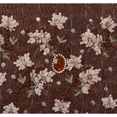 Antique Vintage Indian Saree 100% Pure Silk Beaded Brown Fabric Ribbon Sari - StompMarket