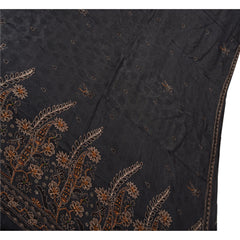 Antique Vintage Indian Saree 100% Pure Silk Hand Beaded Black Woven Fabric Sari - StompMarket