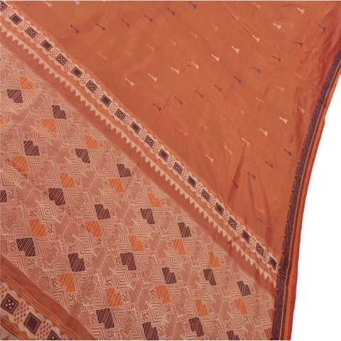 Antique Vintage Indian Saree 100% Pure Silk Orange Woven Fabric Sari