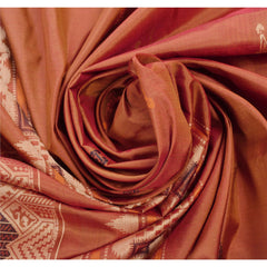 Antique Vintage Indian Saree 100% Pure Silk Orange Woven Fabric Sari - StompMarket