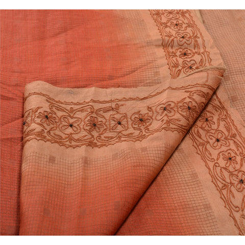 Antique Vintage Indian Saree 100% Pure Silk Hand Embroidered Woven Fabric Sari