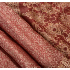 Antique Vintage Indian Saree 100% Pure Silk Woven Craft Fabric Sari - StompMarket