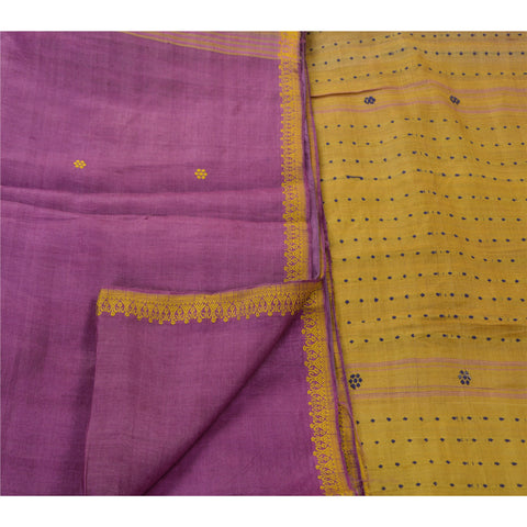 Antique Vintage Indian Saree 100% Pure Silk Purple Woven Fabric Sari