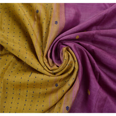 Antique Vintage Indian Saree 100% Pure Silk Purple Woven Fabric Sari - StompMarket