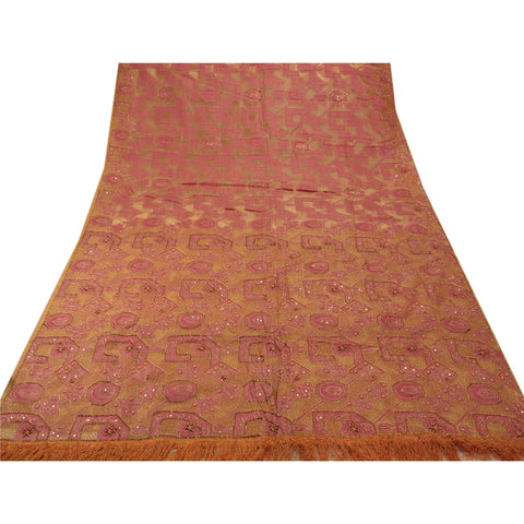Antique intage Saree Pure Organza Silk Hand Embroidery Craft Fabric Premium Sari - StompMarket