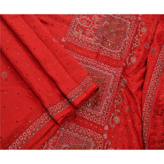 Antique Vintage Indian Saree 100% Pure Silk Hand Beaded Fabric Premium Sari - StompMarket