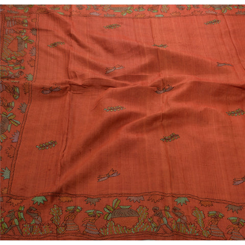 Antique Vintage Indian Saree 100% Pure Silk Hand Embroidered Fabric Kantha Sari