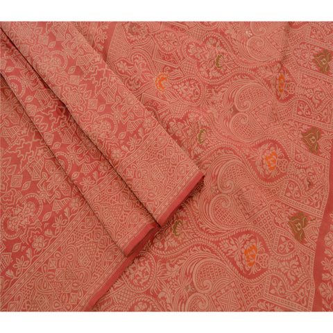 Antique Vintage Indian Saree 100% Pure Silk Woven Fabric Premium Sari