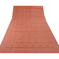 Antique Vintage Indian Saree 100% Pure Silk Woven Fabric Premium Sari - StompMarket