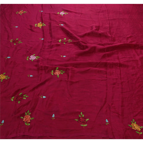 Antique Intage Saree 100% Pure Silk Hand Embroidered Fabric Sari