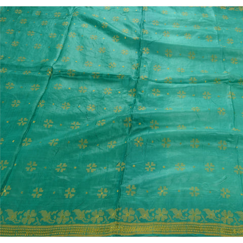Antique Vintage Indian Saree 100% Pure Silk Woven Green Fabric Sari