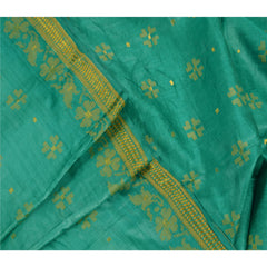 Antique Vintage Indian Saree 100% Pure Silk Woven Green Fabric Sari - StompMarket