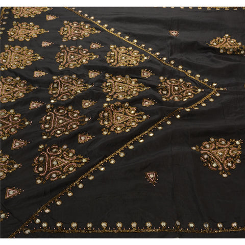 Antique Vintage Indian Saree 100% Pure Silk Hand Embroidery Fabric Premium Sari