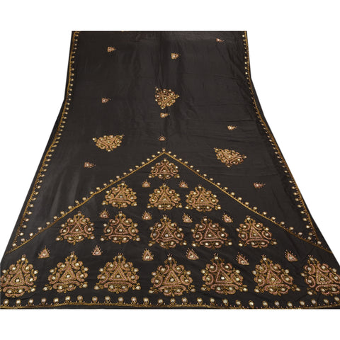 Antique Vintage Indian Saree 100% Pure Silk Hand Embroidery Fabric Premium Sari - StompMarket