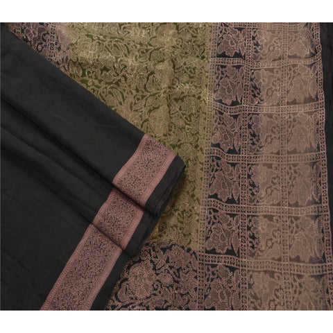Antique Vintage Indian Saree 100% Pure Silk Woven Black Fabric Sari