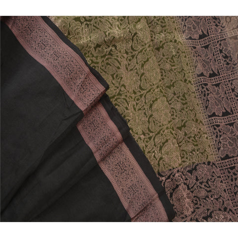 Antique Vintage Indian Saree 100% Pure Silk Woven Black Fabric Sari - StompMarket