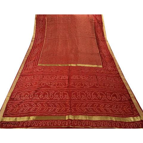 Antique Vintage Indian Saree 100% Pure Silk Woven Fabric Bandhani Sari