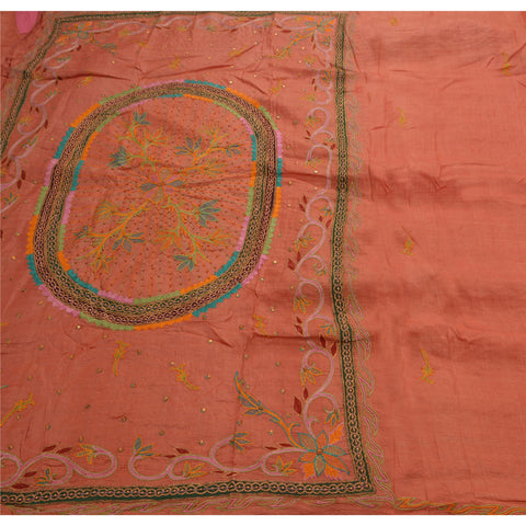 Antique Vintage Saree 100% Pure Silk Hand Embroidery Craft Fabric Sari