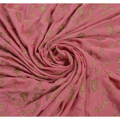 Antique Vintage Saree Crepe Silk Hand Embroidery Fabric Premium Sari