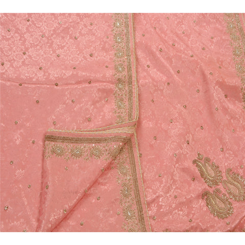 Antique Vintage Saree Crepe Silk Hand Embroidery Woven Pink Fabric Premium Sari