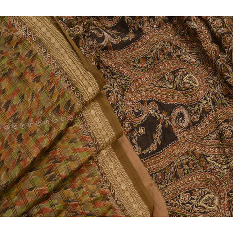 Antique Vintage Saree Art Silk Hand Embroidery Fabric Premium Sari