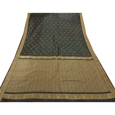 Antique Vintage Saree 100% Pure Silk Woven Craft Fabric Premium Sari