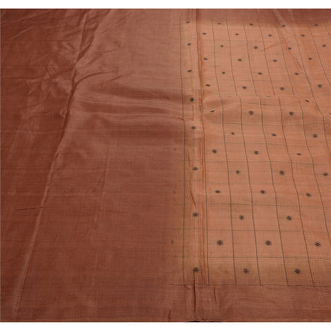Antique Vintage Indian Saree 100% Pure Silk Woven Craft Fabric Sari