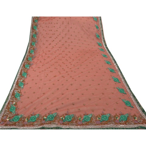 Antique Vintage Indian Saree Net Mesh Hand Embroidery Pink Fabric Premium Sari