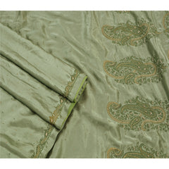 Antique Vintage Saree Satin Silk Hand Embroidery Fabric Premium Sari