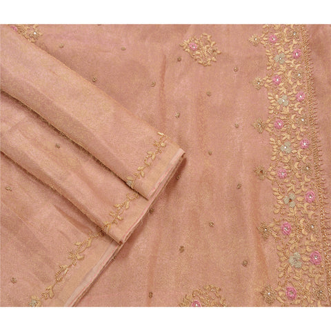 Antique Vintage Saree Tissue Hand Embroidery Woven Fabric Premium Sari