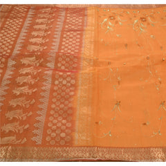 Antique Vintage Saree 100% Pure Silk Embroidered Woven Fabric Sari