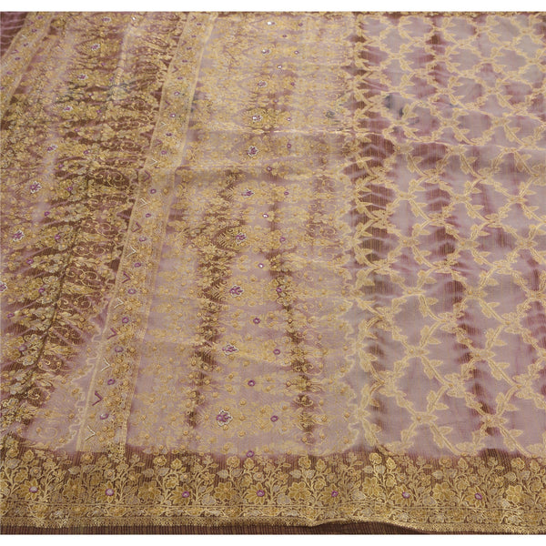 Vintage Saree Georgette Hand Embroidery Woven Fabric Premium Leheria Sari