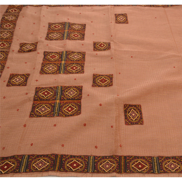 Antique Vintage Saree Pure Cotton Hand Embroidery Woven Fabric Premium Sari