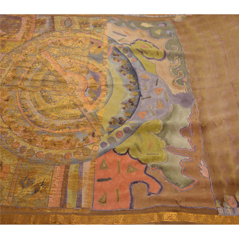 Antique Vintage Indian Saree 100% Pure Silk Woven Craft Fabric Premium Sari
