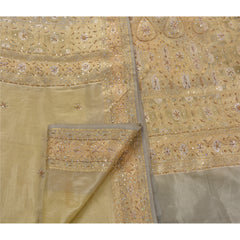 Antique Vintage Saree Art Silk Hand Embroidery Woven Fabric Premium Sari
