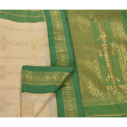 Vintage Indian Saree Art Silk Woven White Craft Fabric Premium Sari