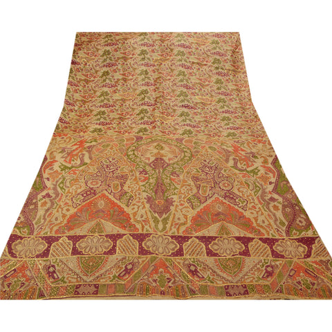 Antique Vintage Saree 100% Pure Silk Hand Beaded Fabric Premium Sari