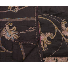 Antique Vintage Saree 100% Pure Silk Hand Embroidery Craft Fabric Premium Sari