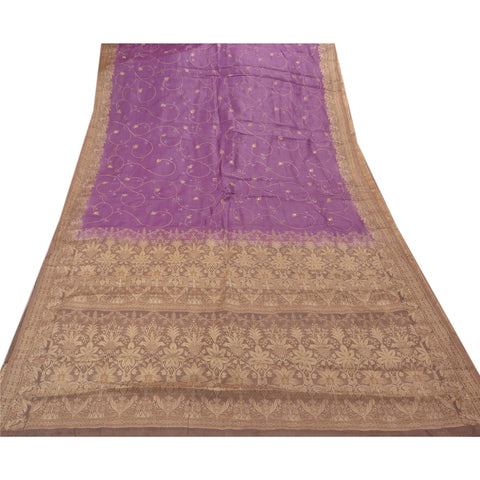 Vintage Indian Saree 100% Pure Silk Embroidered Woven Fabric Sari