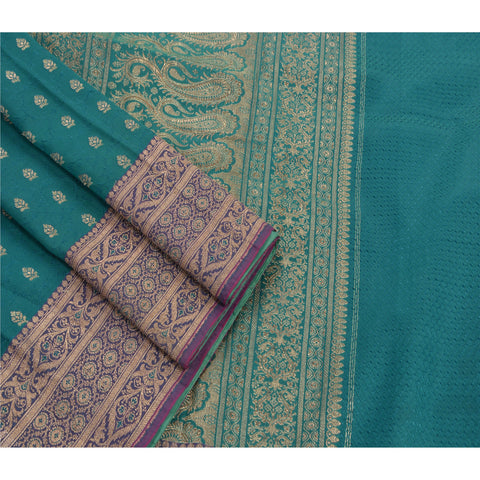 Antique Vintage Indian Saree Art Silk Woven Brocade Craft Fabric Premium Sari