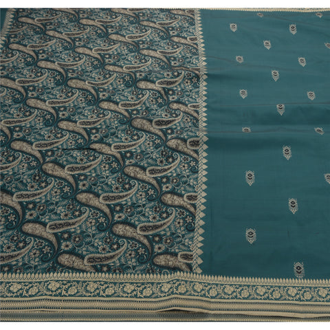 Vintage Indian Saree Art Silk Woven Green Craft Fabric Premium Sari