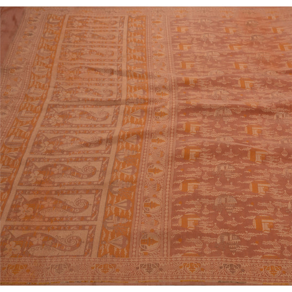 Vintage Indian Saree 100% Pure Silk Woven Craft Fabric Premium Sari
