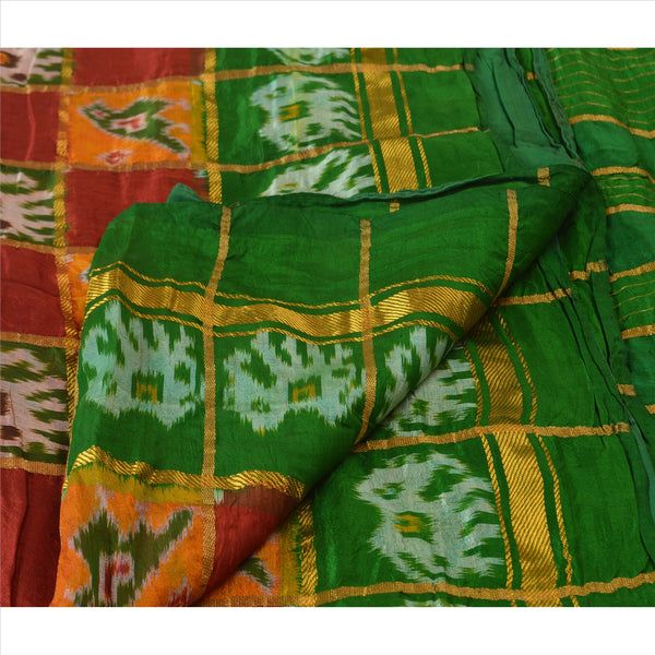 Vintage Indian Saree Hand Woven Patola Sari Fabric 100% Pure Silk Soft Maroon