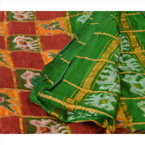 Vintage Indian Saree Hand Woven Patola Sari Fabric 100% Pure Silk Soft Maroon - StompMarket