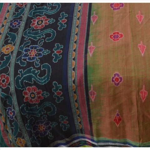 Vintage Indian Saree Hand Woven Patola Sari Fabric 100% Pure Cotton Craft Green - StompMarket