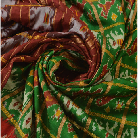 Vintage Indian Saree Woven Patola Sari Fabric Pure Silk Soft Green - StompMarket