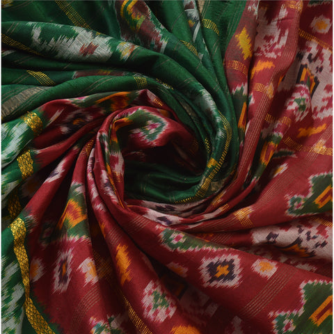 Vintage Indian Saree Woven Patola Sari Fabric Pure Silk Soft Dark Red - StompMarket