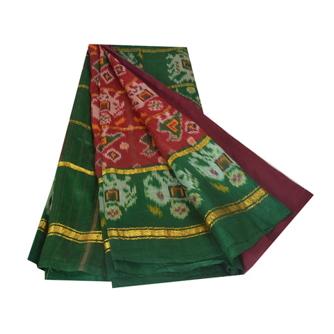 Vintage Indian Saree Woven Patola Sari Fabric Pure Silk Soft Dark Red