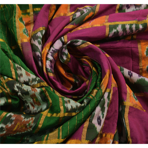 Vintage Indian Saree Woven Patola Sari Fabric Pure Silk Soft Purple - StompMarket